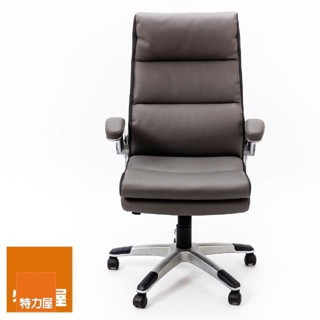 【特力屋】凱瑞高背扶手椅 灰色 雙色烤漆 美國BIFMA氣壓棒