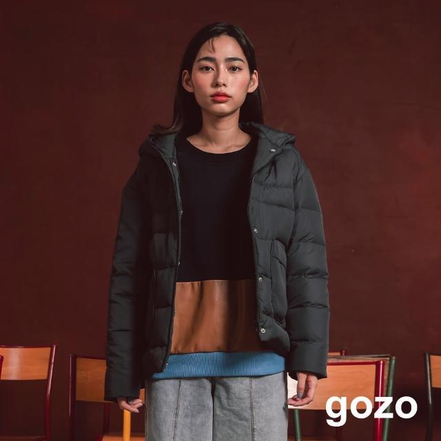 【gozo】連帽圓弧口袋短版羽絨外套(兩色)