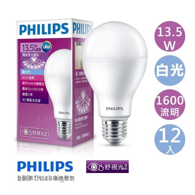 【Philips 飛利浦】第7代 13.5W LED燈泡 白光  12入組(白光-12顆入)