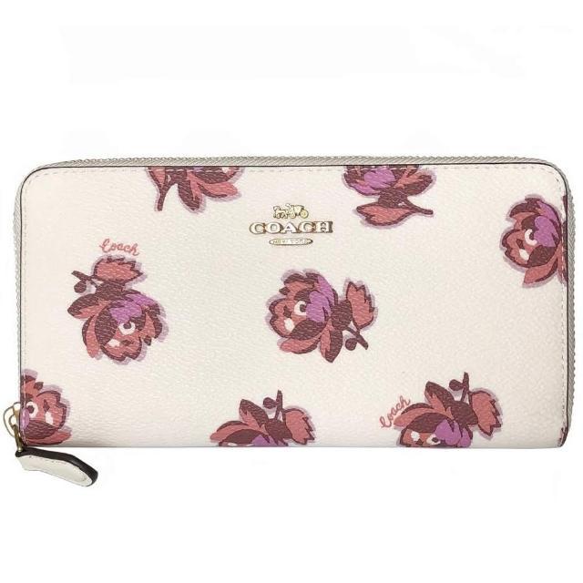 【COACH】專櫃款Hayden玫瑰花朵PVC印花拉鍊式長夾