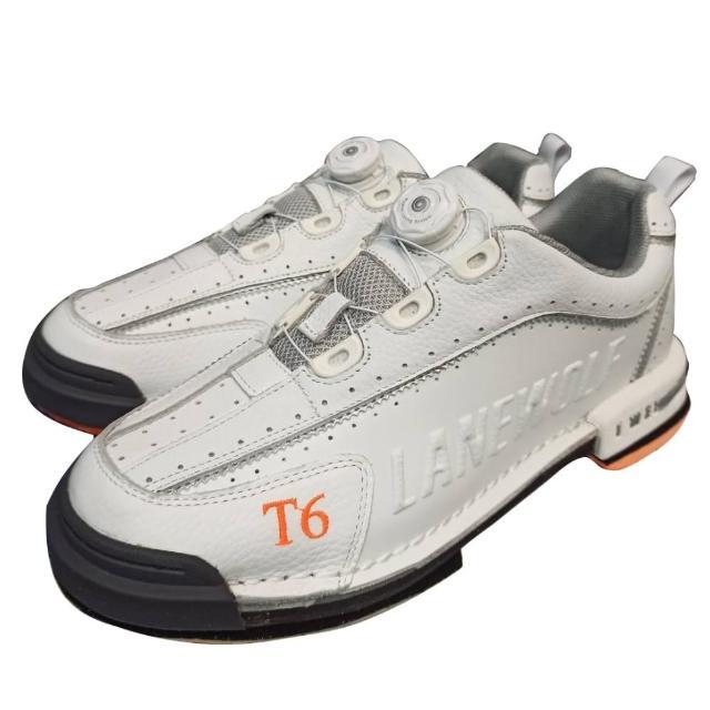 【DJ80嚴選】LANEWOLF 旋鈕鞋帶+真皮換底保齡球鞋-T6款白色(大全配附3底+3跟+專屬鞋套)