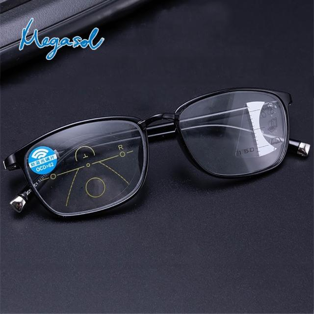 【MEGASOL】濾藍光抗UV中性膠框方框漸進多焦老花眼鏡(矩方黑框和紅框款-KZ-JC041)