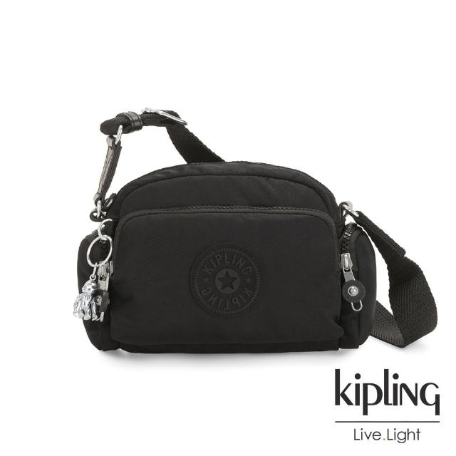 【KIPLING】極致低調黑好收納隨身斜背包-JENERA MINI