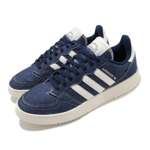 【adidas 愛迪達】休閒鞋 Supercourt 復古 男女鞋 愛迪達 三葉草 牛仔布 板鞋 穿搭 藍 米(FW4425)