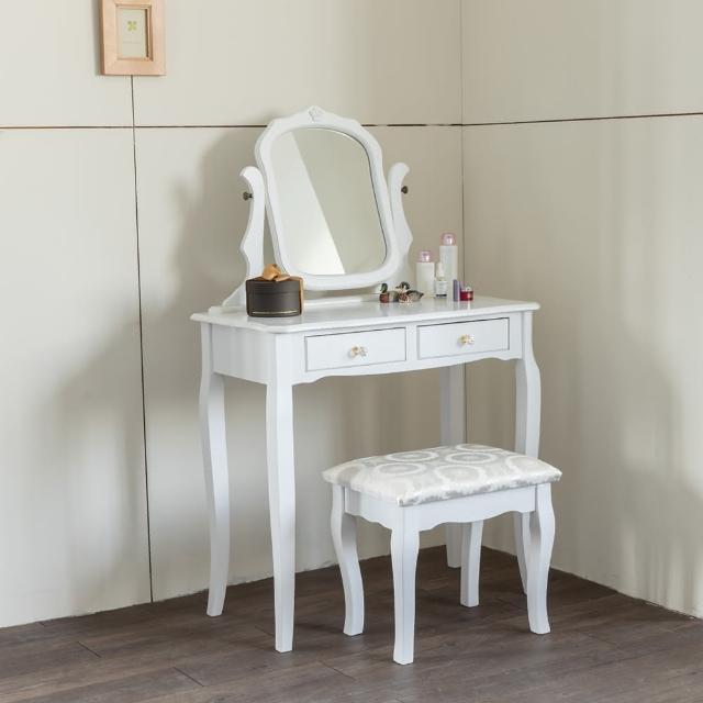 【AccessCo】新古典巴洛克化妝桌椅組(純潔白)