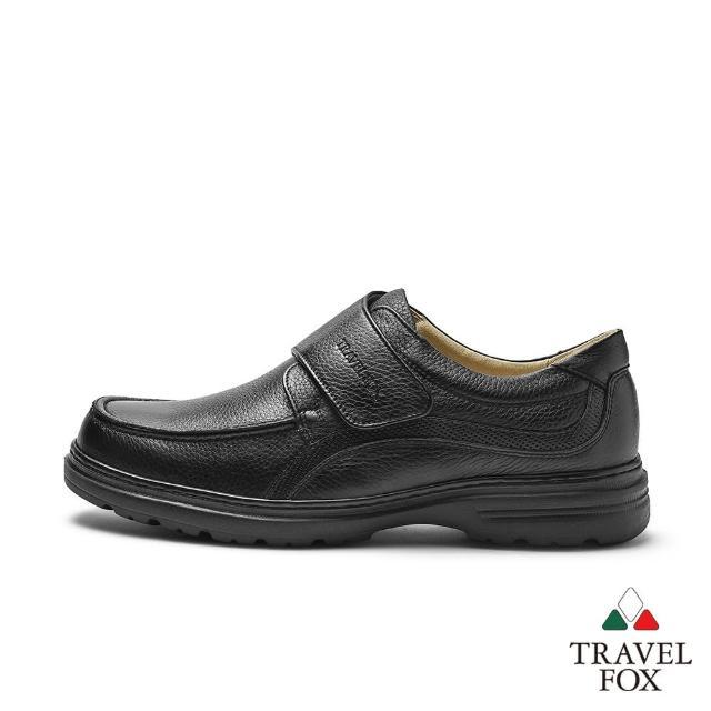 【TRAVEL FOX 旅狐】男款 舒適質感全真皮魔鬼氈紳士皮鞋/上班鞋(919652-101 黑)