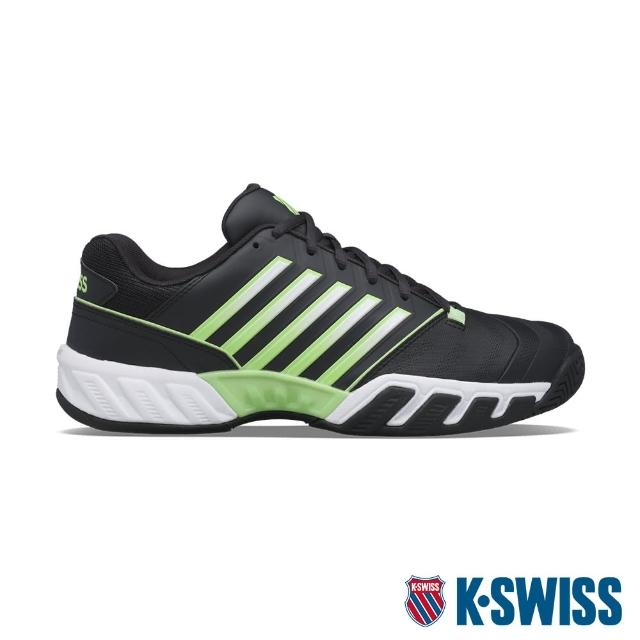 【K-SWISS】輕量進階網球鞋 Bigshot Light 4-男-黑/霓綠(06989-406)