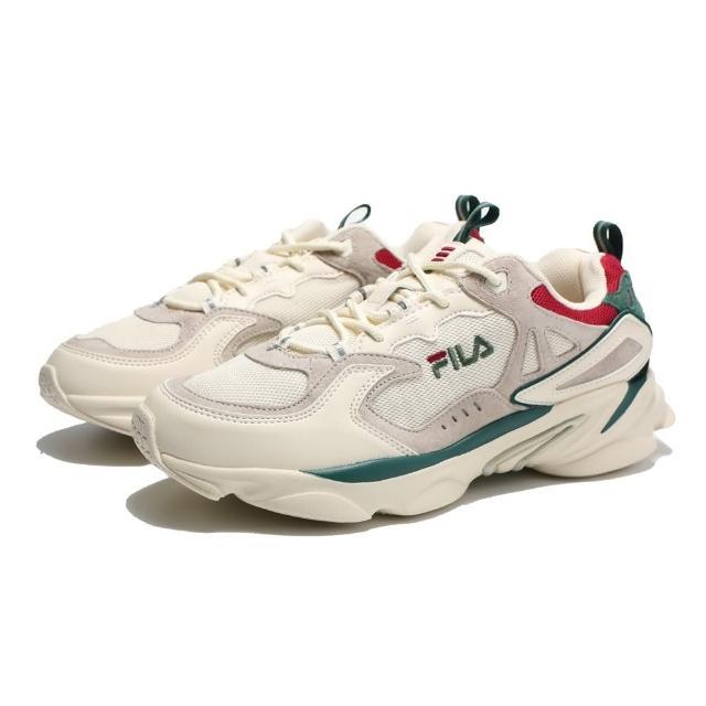 【FILA】休閒鞋 老爹鞋 奶油色 綠紅 拼接 復古 SKIPPER 男(4J528T736)