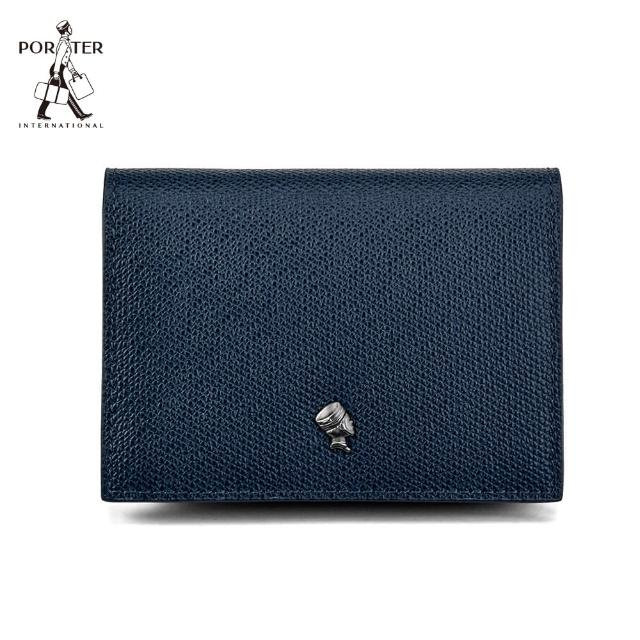【PORTER INTERNATIONAL】LOGIC真皮名片夾(深藍)