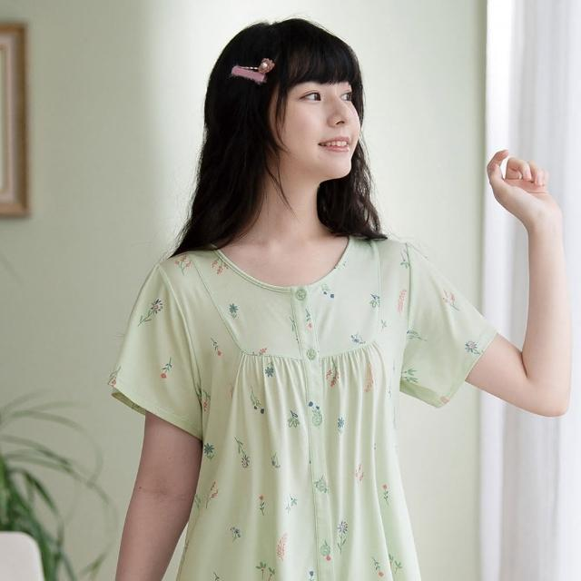 【Wacoal 華歌爾】睡衣-睡眠研究所-海藻纖維 M-LL短袖七分褲裝 LWB56111GR(綠)