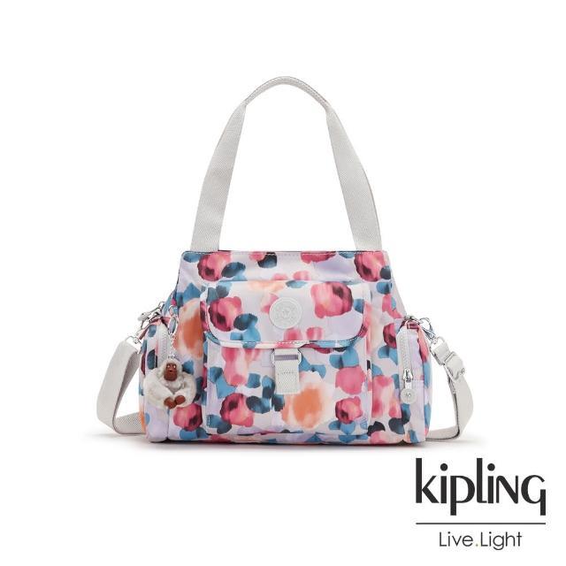 【KIPLING】繽紛夢幻花繪好收納手提兩用斜背包-EIRENE
