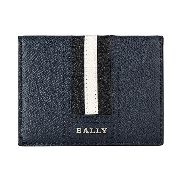 【BALLY】BALLY TALDER銀字LOGO牛皮6卡對折卡片名片夾(黑白黑條紋x深藍)