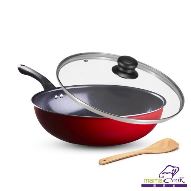 【義大利Mama cook】亮麗紅黑陶瓷不沾炒鍋組32cm(附蓋)