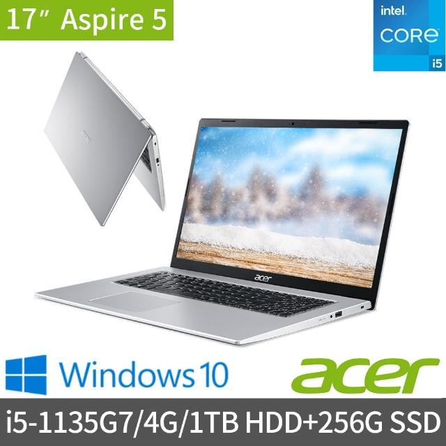 【1TB外接硬碟組】Acer A517-52-57N5 17.3吋雙碟效能筆電(i5-1135G7/4G/1TB HDD+256G SSD/Win10)