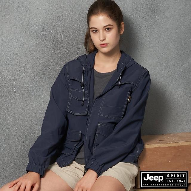 【JEEP】女裝 多口袋功能連帽外套(海軍藍)