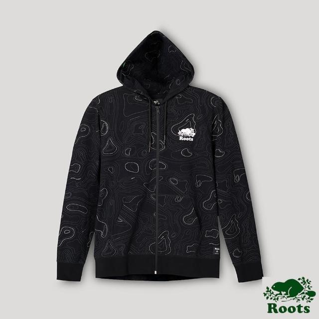 【Roots】Roots男裝-開拓者系列 等高線元素連帽外套(黑色)