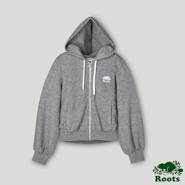 【Roots】Roots女裝- 椒鹽灰系列 泡泡袖連帽外套(灰色)