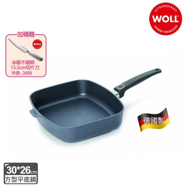 【Woll】Diamond Lite  新鑽石不沾系列30*26cm方型平底鍋(加贈 二件式刀具組)