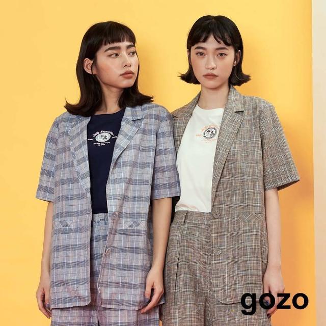 【gozo】老派格紋短袖西裝外套(兩色)