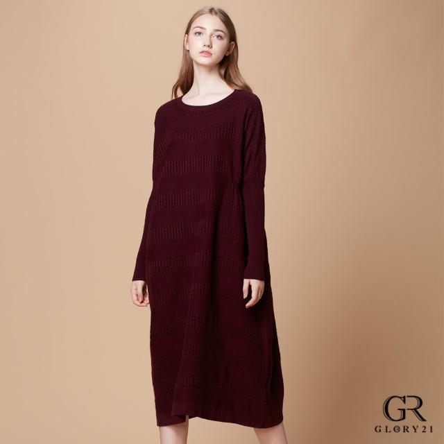 【GLORY21】速達-針織格紋造型長版羊毛洋裝(酒紅)