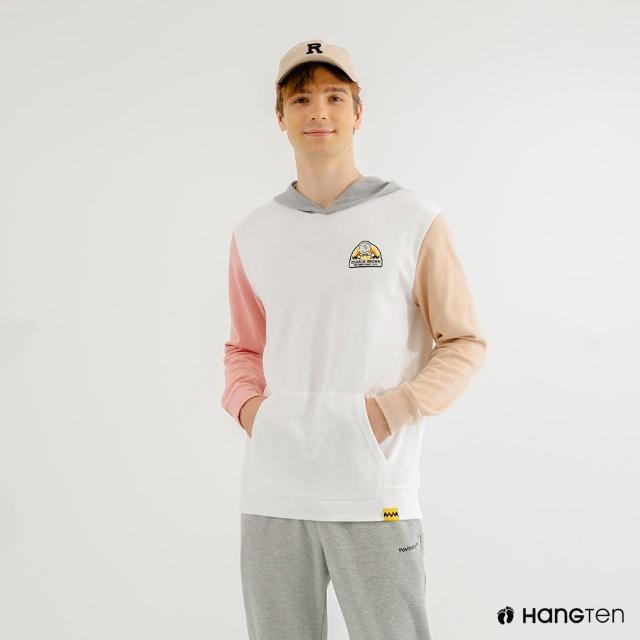 【Hang Ten】男裝-Charlie Brown趣味織標多色拼接連帽T恤(米白)
