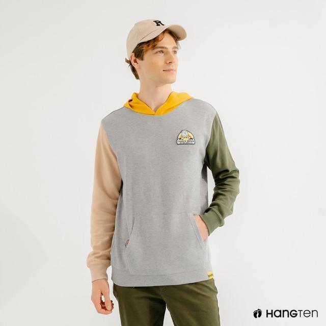 【Hang Ten】男裝-Charlie Brown趣味織標多色拼接連帽T恤(淺花紗灰)